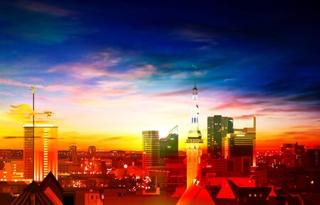 abstract spring background with red blue sunset and panorama of Tallinn Illustration