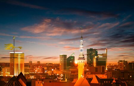 abstract spring background with blue brown sunset and panorama of Tallinn