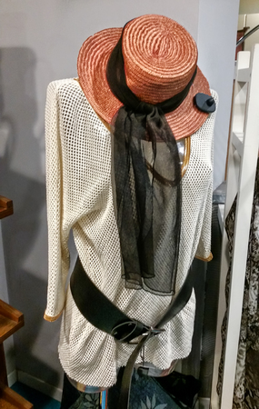 Hat with foulard and blouse Imagens