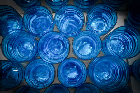 Empty blue glasses seen from above