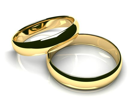 Two gold wedding rings on white glossy background  3D render  photo