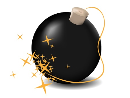 vector illustration black bomb isolated on the white background Stock Vector - 15429070