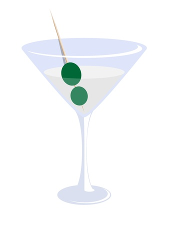 high society: vector illustration of a glass of martini with olives