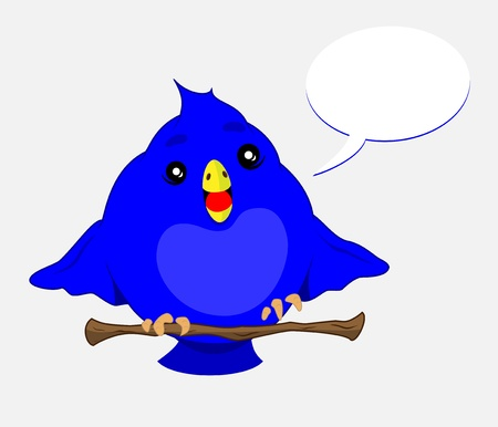 blue bird sitting on a branch of a tree with speech bubble