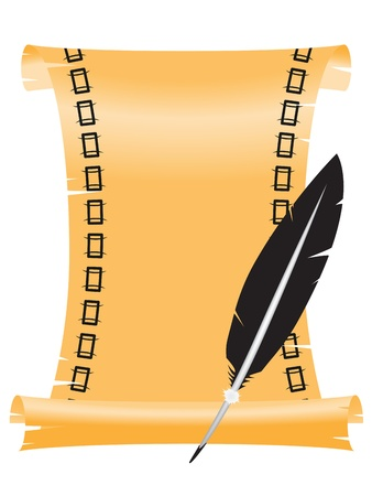 the stylized paper roll with a feather for ink Vector