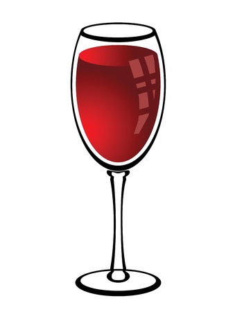 vector illustration of a glass with red wine on a white background Stock Vector - 15429063