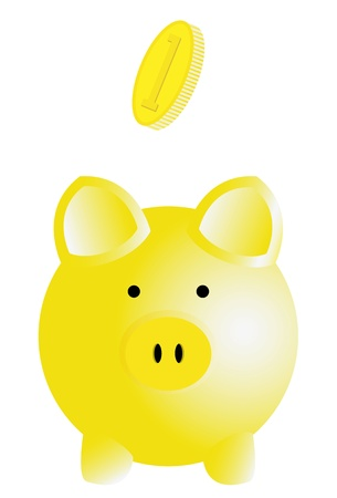 bringing home the bacon: the vector illustration of a piggy bank with a gradient, contains EPS8