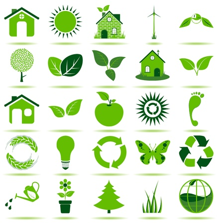 25 premium eco icons for your designs, print or Web project  Vector