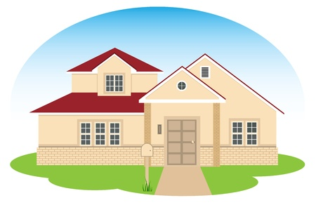 multilevel:  illustration of the modern, multilevel, suburban house, contains EPS8