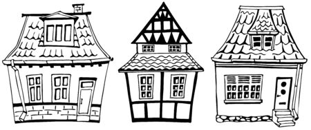 Scandinavian style houses. Graphic vector set. Cartoon hand drawing building. All elements are isolated