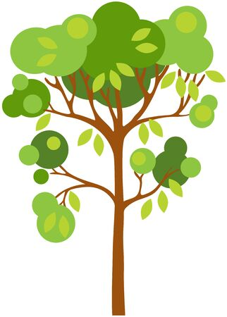 Abstract tree with green leafs in a circle shaped on white background. Isolated Vector illustration. EPS 8