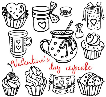 Cupcake and love. Set with valentines day. Vector isolated objects for your design. Hand drawn collection. Vector illustration EPS 8.