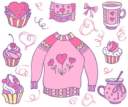 Cupcake, pullover, cup, heart and love. Set with valentines day. Vector isolated objects for your design. Hand drawn collection. Vector illustration EPS 8. 向量圖像
