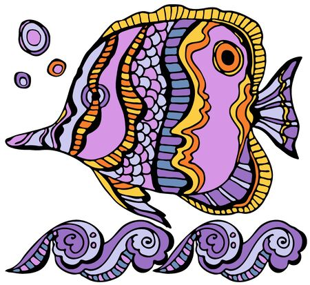 Tropical fish coloring page. ?olored. Underwater world. Anti-stress coloring for adult and children. Vector illustration. EPS 8