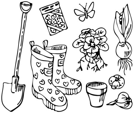 Spring flowers and garden tools. Set of hand drawn elements. Garden collection. Spring drawings in sketch style. Perfect for invitations, greeting cards, blogs, posters, packagings