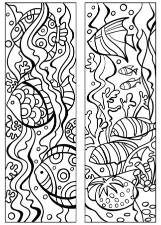 Bookmark for book - coloring. Tropical , coral reef. Doodle patterns. Set of black and white labels. Sketch of ornaments for creativity of children and adults.