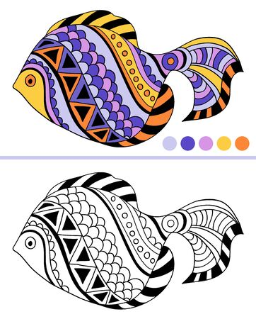 Tropical fish coloring page. Underwater world. Colorful illustration of stylized fantastic fish.Anti-stress coloring for adult and children. Vector illustration. EPS 8