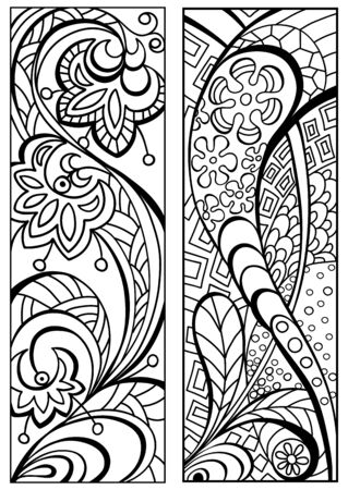 Bookmark for book - coloring. Abstract flowers ornament. Doodle patterns. Set of black and white labels. Sketch of ornaments for creativity of children and adults. EPS 8 Vecteurs