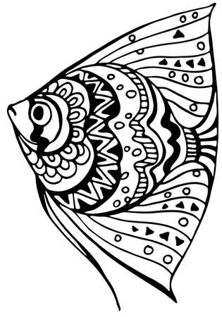 Tropical triangular fish coloring page. Black and white. Underwater world. Anti-stress coloring for adult and children. Vector illustration. EPS 8