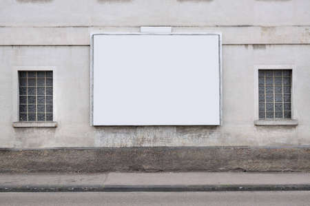 proclamation: blank billboard on the wall Stock Photo