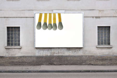 billboard with five wooden matches