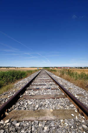 nowhere: empty railway track to nowhere