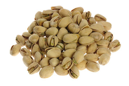 a pile of pistachios isolated Stock Photo