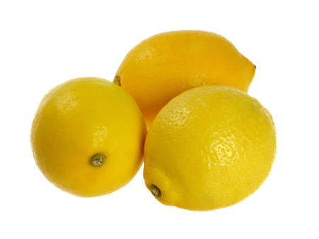 three lemons isolated on white background