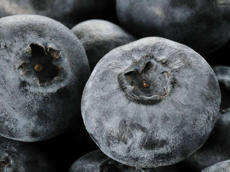 macro of fresh and sweet blueberries Stock Photo