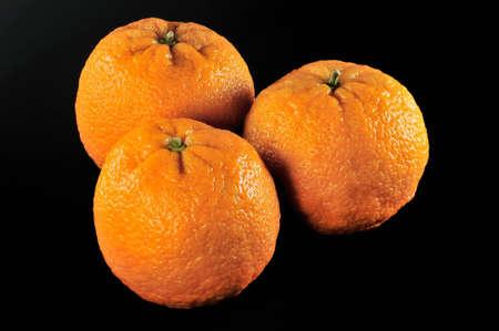three fresh oranges on black background Stock Photo