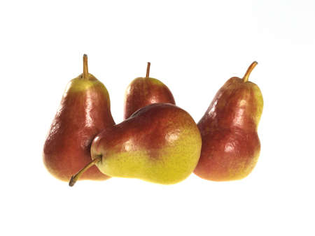 closeup from four pears on white background Stock Photo