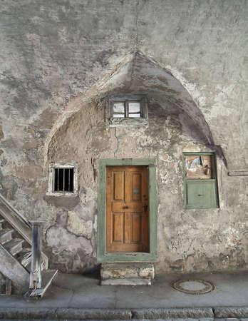 brown door in an old house