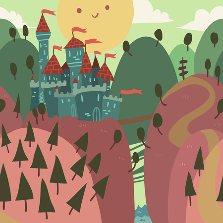 fortified: Cartoon Castle on a Hill  The vector illustration of cartoon castle on a hill  Illustration