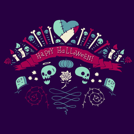 Happy Halloween greeting card  Vector