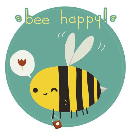 abeja caricatura: La tarjeta de felicitaci�n del vector con la abeja divertida