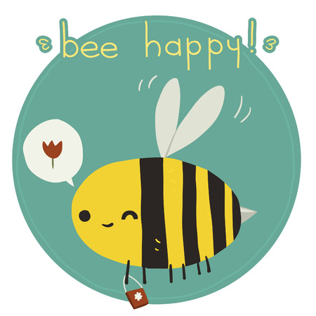bee on white flower: The vector greeting card with funny bee