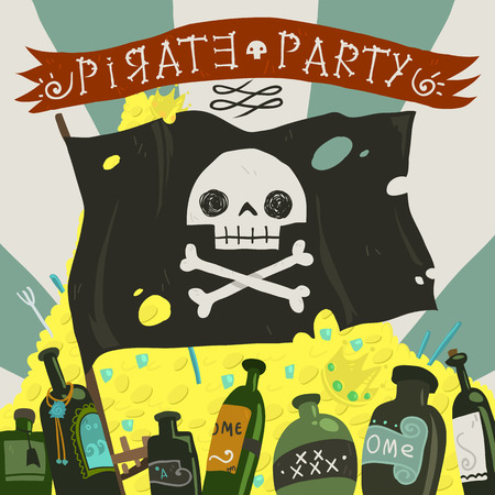 The vector greeting card of halloween pirate party with pirate flag, rome and treasure.