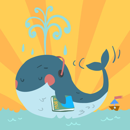 With headphones in sea and with tiny ship. Vector