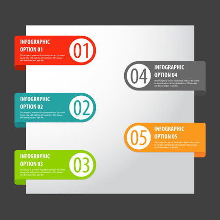 Vector set of modern infographics options tags. Vector
