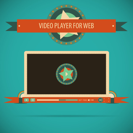 windows media video: Interfaz del reproductor de v�deo Vintage, retro, para la web.
