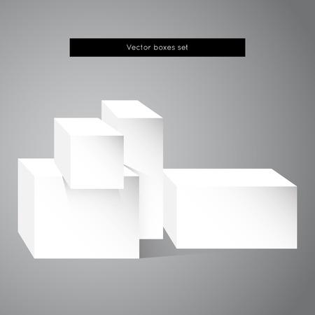 white boxes: white boxes set. Illustration