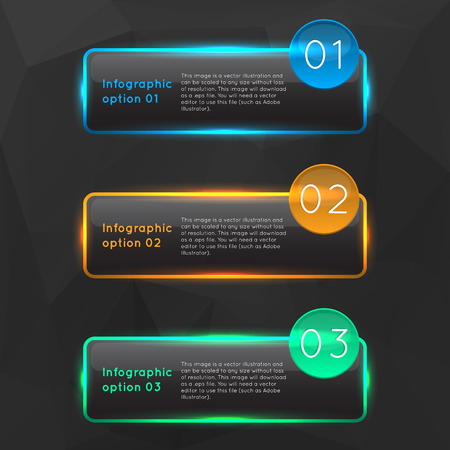 Vector colorful glowing glass infographics. Vector