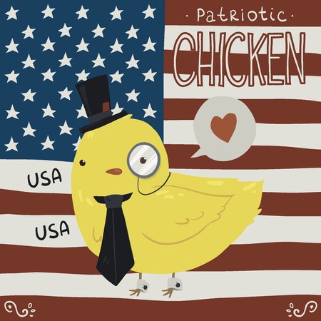 president of the usa: Patriotic chicken greeting card.