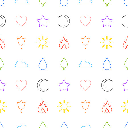 Random abstract icons seamless pattern. Vector