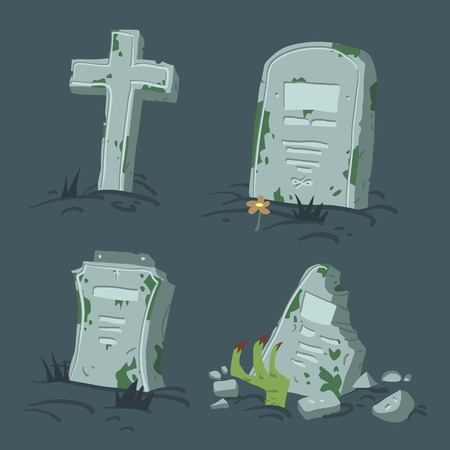 Halloween tombs set. Vector