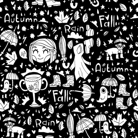 Black and white cute autumn pattern. Vector