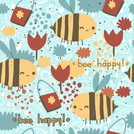 Bee happy vector seamless pattern. Vector