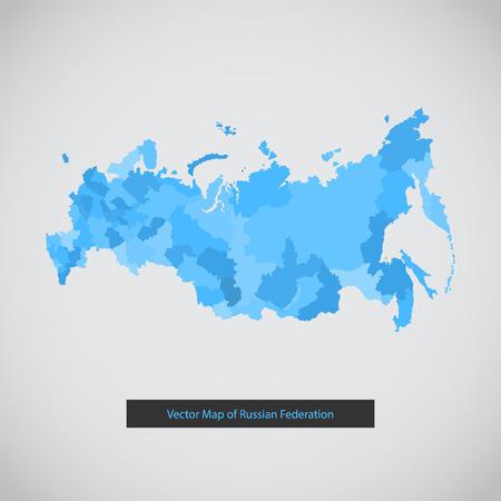 mapa politico: Mono de color moderna de Rusia mapa conjunto plana. Vectores