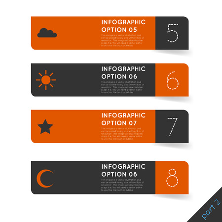Vector illustration of abstract modern dark infographics options banner steps set with icons for games presentations, ui tablets, smart phones. Mono orange. Vector