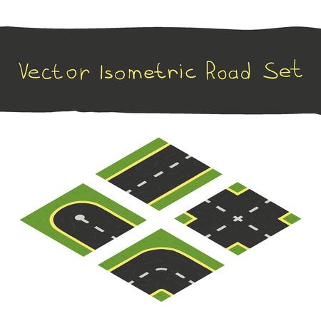 Isometric game road elements set Vector